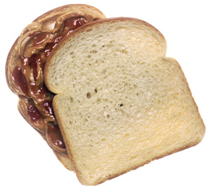 Peanut Butter and Jelly Sandwich on White Bread