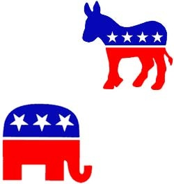 Symbols of the Republican and Democratic Parties