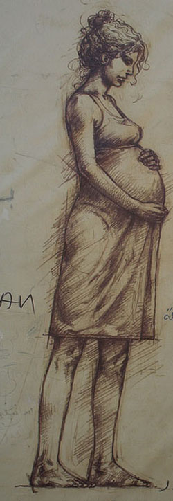 Drawing of a pregnant woman