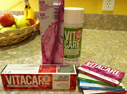 Vitacare toothpaste, toothbrush, gum and mouthwash