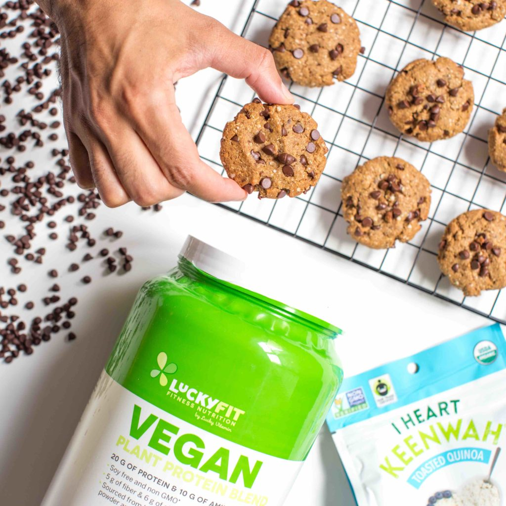 LuckyFit Vegan Protein Quinoa Chocolate Chip Cookies copy