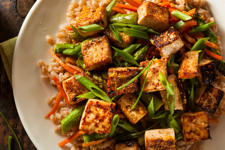 Homemade Tofu Stir Fry with Vegetables and Rice